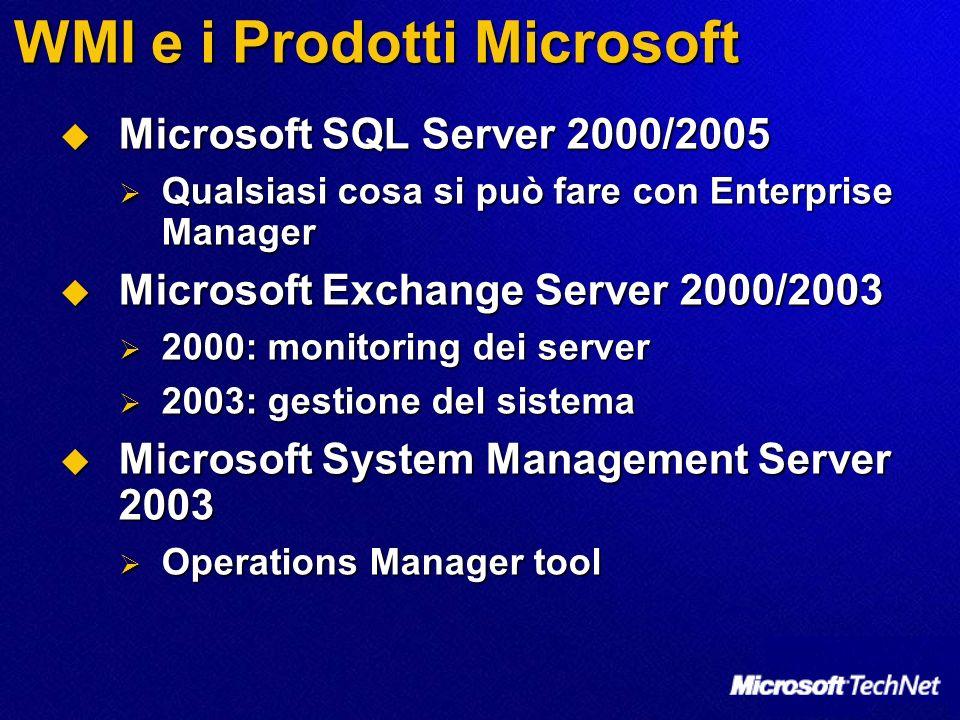 WMI e i Prodotti Microsoft Microsoft SQL Server 2000/2005 Microsoft SQL Server 2000/2005 Qualsiasi cosa si può fare con Enterprise Manager Qualsiasi c