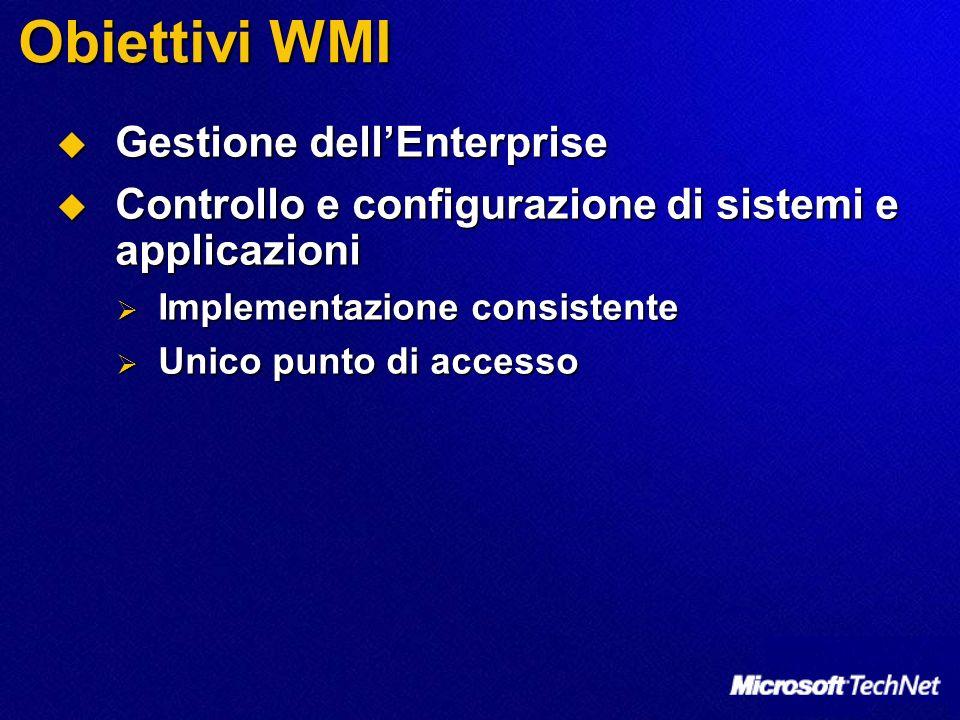 Obiettivi WMI Gestione dellEnterprise Gestione dellEnterprise Controllo e configurazione di sistemi e applicazioni Controllo e configurazione di siste