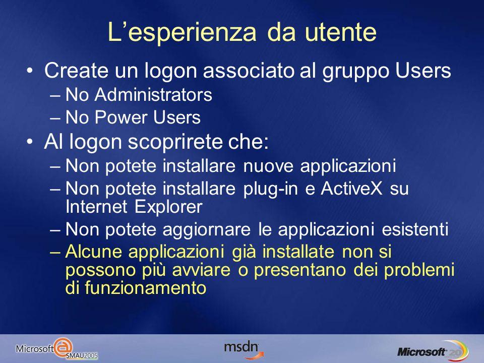 Debug ASP.NET Due aspetti –Lutente con cui gira lapplicazione Usare lo stesso utente con cui si sviluppa per fare debug –I diritti sulle directory usate da ASP.NET Abilitare i diritti su tali directory allutente con cui gira lapplicazione ASP.NET –Windows 2000/XP: Lutente associato a ASPNET_WP.EXE è uno solo per tutta la macchina –Workaround: eseguire VS.NET con RunAs _solo_ limitatamente alla fase di debug –Windows 2003: Gli application pool di II6 aiutano nella gestione di diverse applicazioni con credenziali differenti –Visual Studio 2005: Non esisteranno più questi problemi a prescindere da IIS, visto che in debug potremo usare Visual Web Developer Web Server.