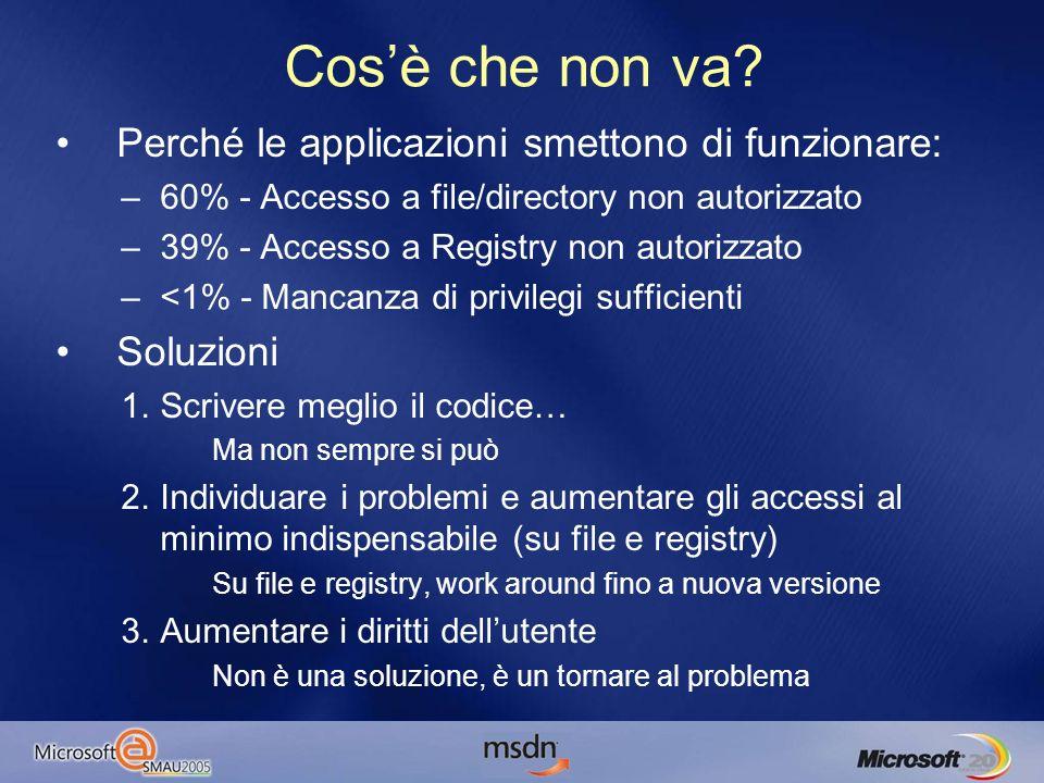 Guida alla sopravvivenza Il 99% dei problemi è causato da accessi non autorizzati al File System e al Registry Due tool indispensabili per la diagnosi: –FileMon –RegMon –Entrambi su www.sysinternals.com