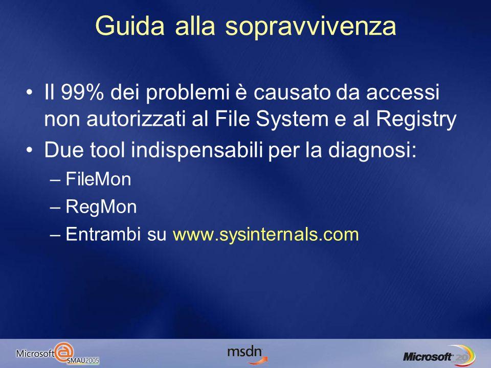 Problemi di File System Directory leggibili da Everyone e modificabili solo da amministratori e power users: –C:\ –C:\WINDOWS –C:\WINDOWS\SYSTEM32 –C:\PROGRAM FILES Spesso i programmi aprono in scrittura file in queste directory –Anche se poi fanno solo operazioni di lettura –Comunque è un errore scrivere in queste directory, ogni utente dovrebbe avere configurazioni separate