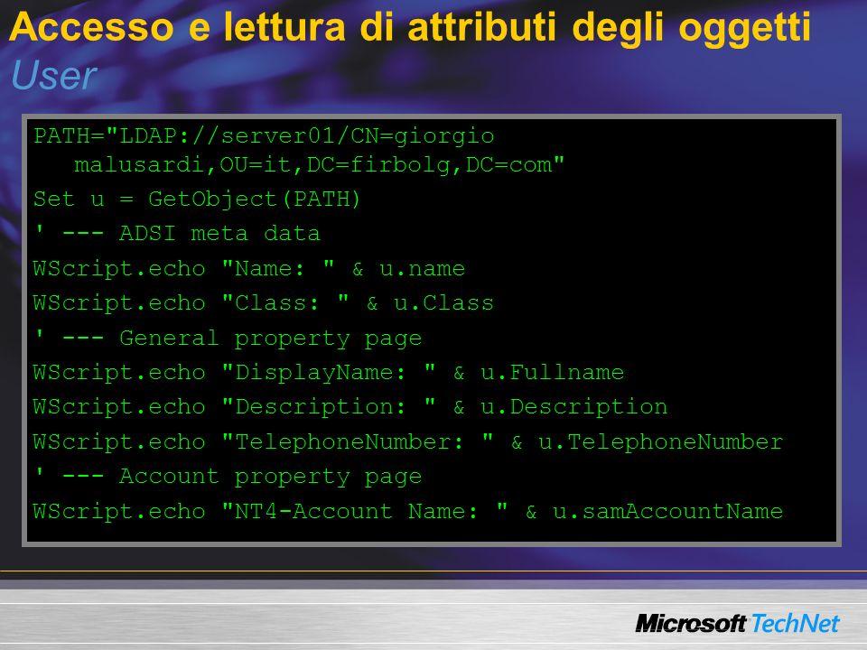 Accesso e lettura di attributi degli oggetti User PATH=
