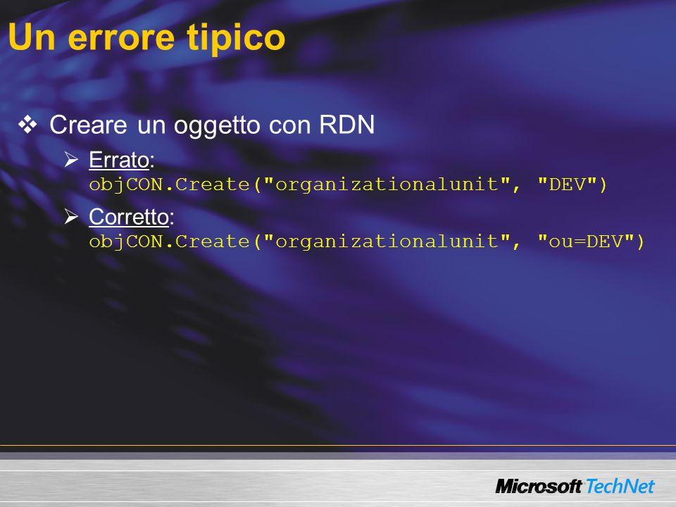 Un errore tipico Creare un oggetto con RDN Errato: objCON.Create(