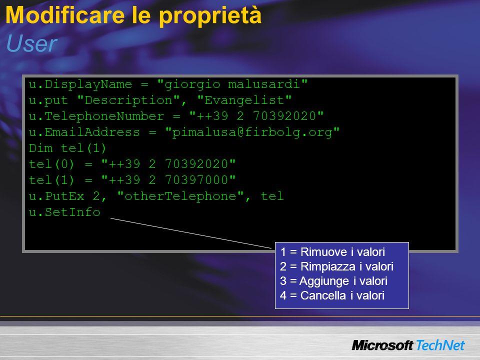 Modificare le proprietà User u.DisplayName =