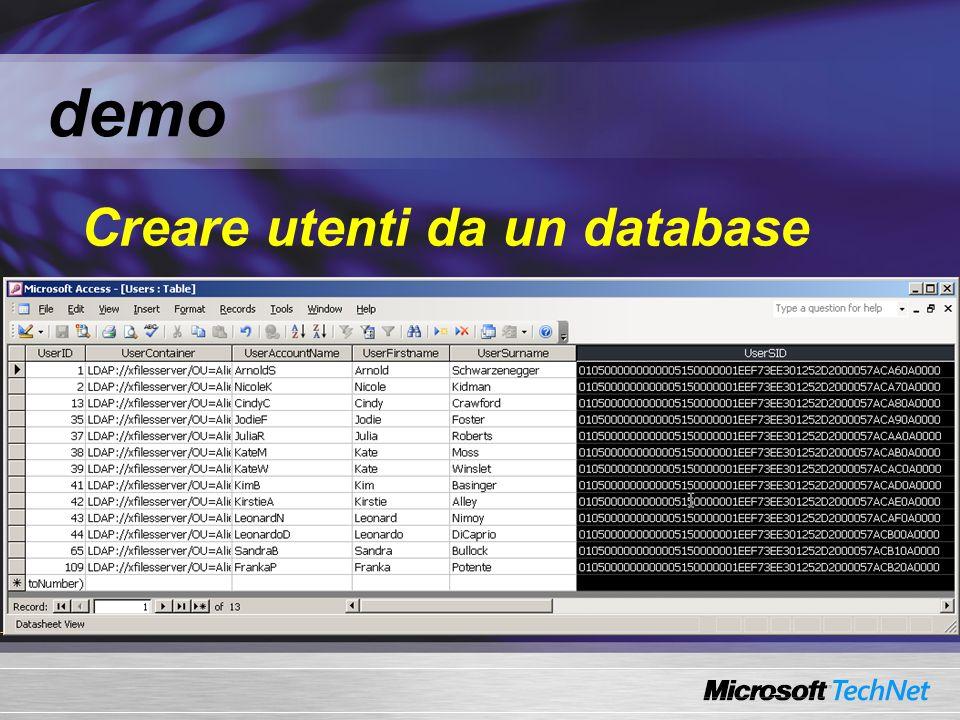 demo Creare utenti da un database