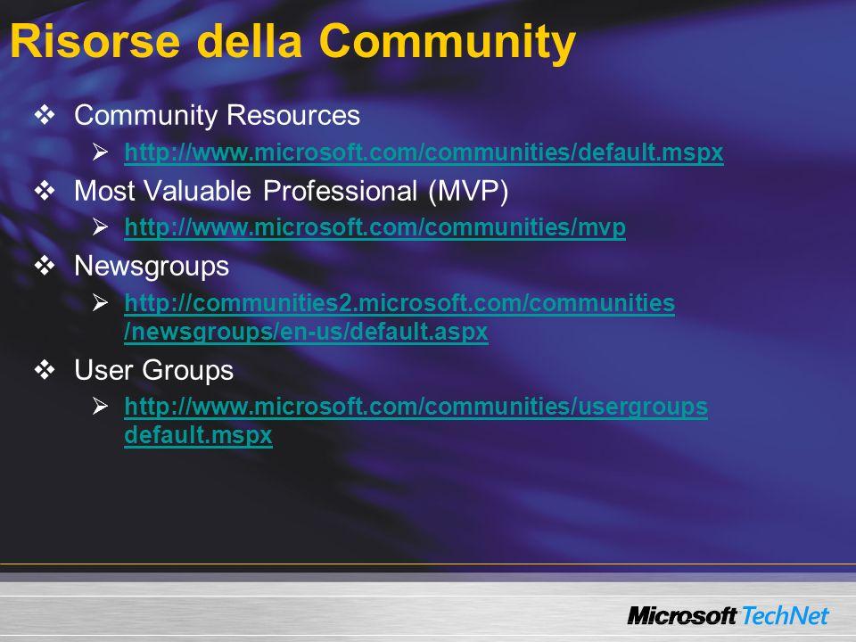 Risorse della Community Community Resources http://www.microsoft.com/communities/default.mspx Most Valuable Professional (MVP) http://www.microsoft.co