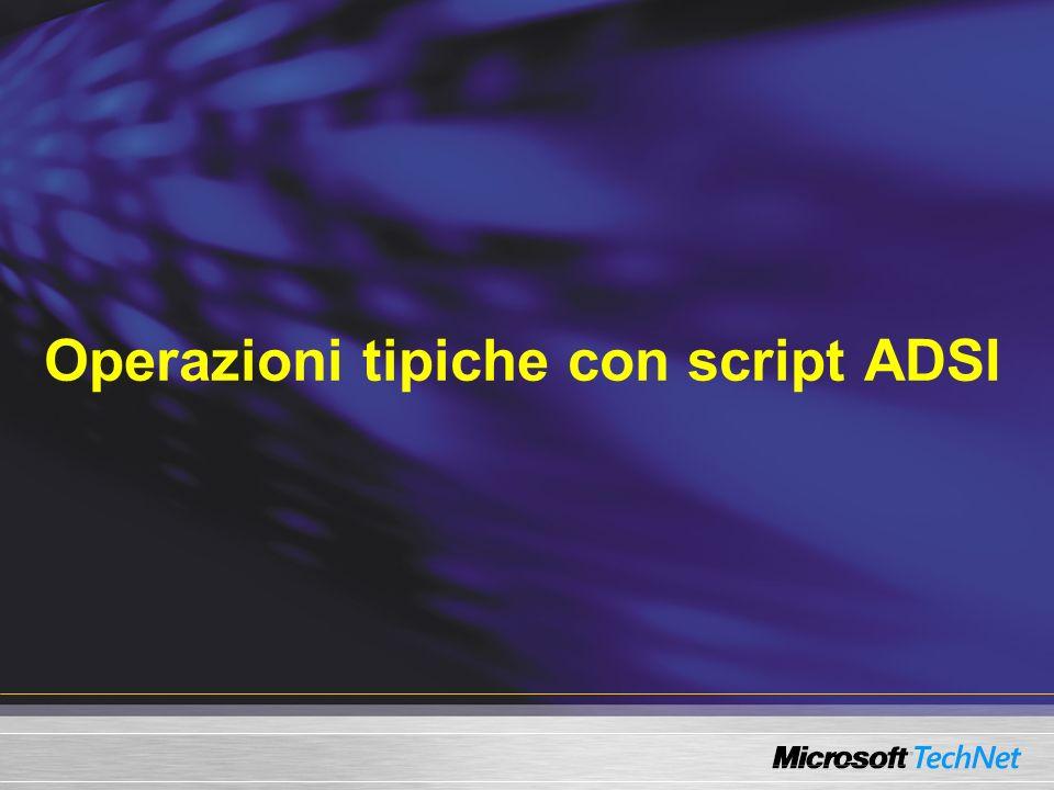 Problemi con i Data type Proprietà multivalore Function ADSIGet(obj, attribut) ADSIGet = On Error Resume Next ADSIGet = obj.Get(attribut) If IsArray(ADSIGet) Then ADSIGet = Join(obj.Get(attribut), ; ) End Function Wscript.echo ADSIGet(u, OtherTelephone ) Wscript.echo ADSIGet(u, Url )
