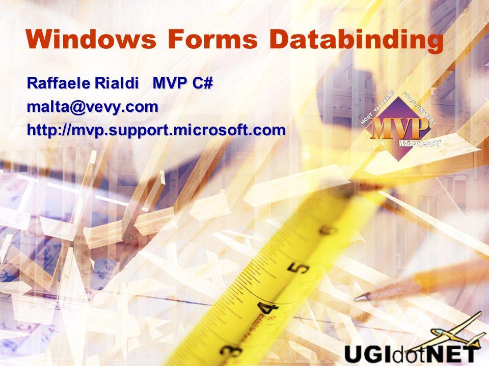 Windows Forms Databinding Raffaele Rialdi MVP C# malta@vevy.comhttp://mvp.support.microsoft.com