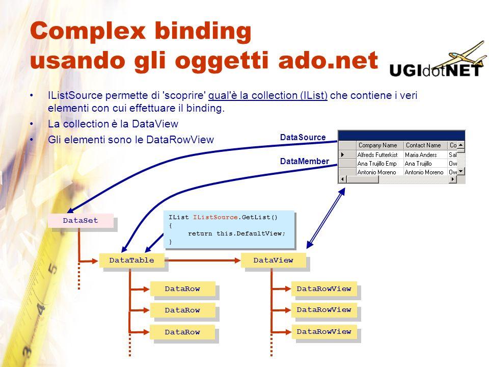 Complex binding usando gli oggetti ado.net IListSource permette di 'scoprire' qual'è la collection (IList) che contiene i veri elementi con cui effett