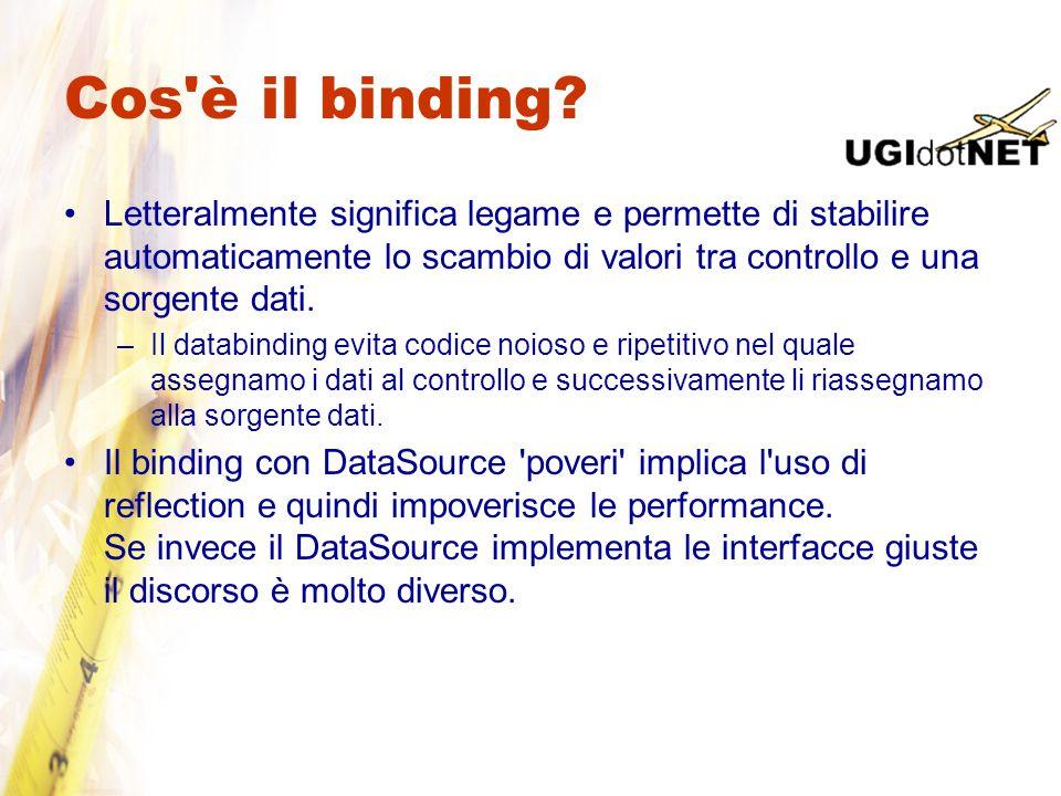 Cos'è il binding? Letteralmente significa legame e permette di stabilire automaticamente lo scambio di valori tra controllo e una sorgente dati. –Il d
