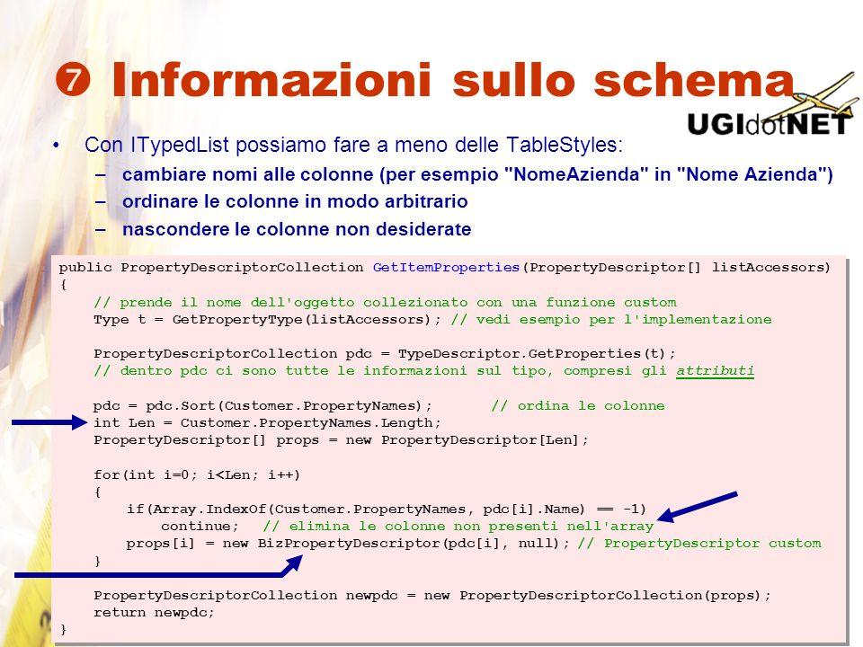Informazioni sullo schema Con ITypedList possiamo fare a meno delle TableStyles: –cambiare nomi alle colonne (per esempio