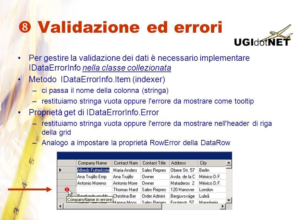 Validazione ed errori Per gestire la validazione dei dati è necessario implementare IDataErrorInfo nella classe collezionata Metodo IDataErrorInfo.Ite