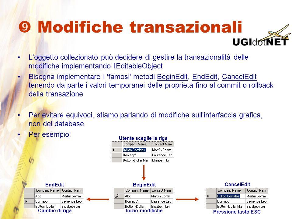 Modifiche transazionali L'oggetto collezionato può decidere di gestire la transazionalità delle modifiche implementando IEditableObject Bisogna implem