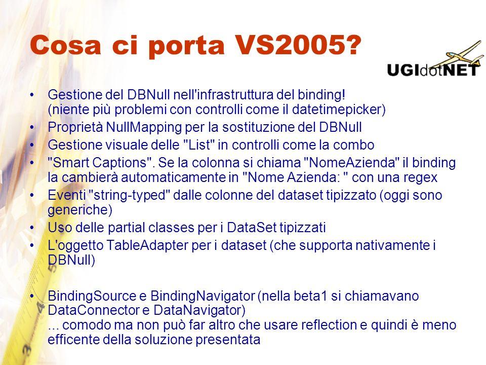 Cosa ci porta VS2005? Gestione del DBNull nell'infrastruttura del binding! (niente più problemi con controlli come il datetimepicker) Proprietà NullMa