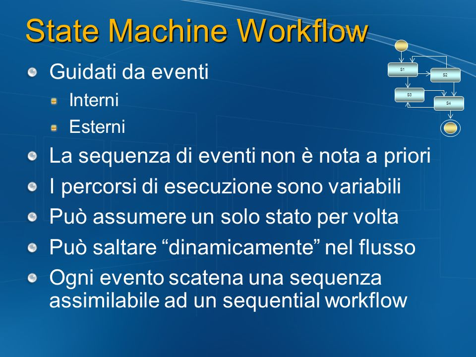 State Machine Workflow Guidati da eventi Interni Esterni La sequenza di eventi non è nota a priori I percorsi di esecuzione sono variabili Può assumere un solo stato per volta Può saltare dinamicamente nel flusso Ogni evento scatena una sequenza assimilabile ad un sequential workflow S1 S2 S3 S4