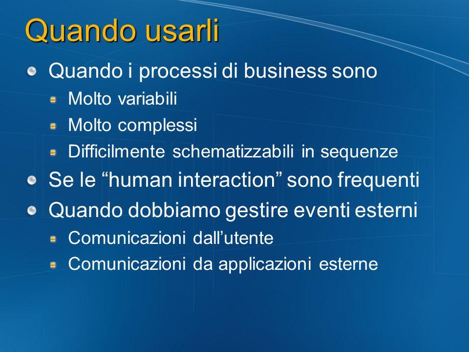 Quando usarli Quando i processi di business sono Molto variabili Molto complessi Difficilmente schematizzabili in sequenze Se le human interaction sono frequenti Quando dobbiamo gestire eventi esterni Comunicazioni dallutente Comunicazioni da applicazioni esterne