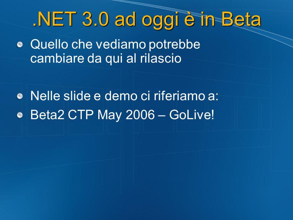 .NET 3.0 ad oggi è in Beta Quello che vediamo potrebbe cambiare da qui al rilascio Nelle slide e demo ci riferiamo a: Beta2 CTP May 2006 – GoLive!