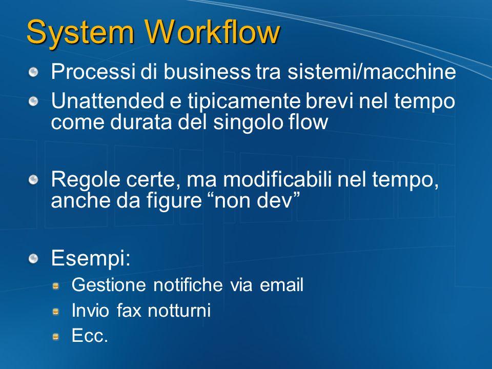 System Workflow Processi di business tra sistemi/macchine Unattended e tipicamente brevi nel tempo come durata del singolo flow Regole certe, ma modificabili nel tempo, anche da figure non dev Esempi: Gestione notifiche via email Invio fax notturni Ecc.