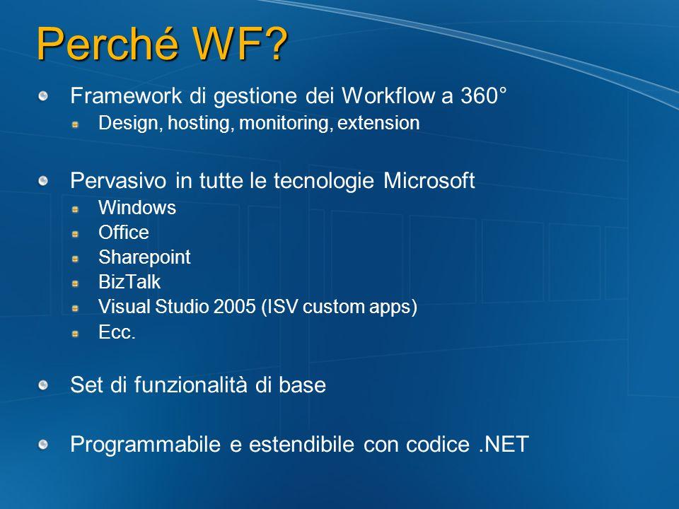 WorkflowRuntime C# using(WorkflowRuntime workflowRuntime = new WorkflowRuntime()) { AutoResetEvent waitHandle = new AutoResetEvent(false); workflowRuntime.WorkflowCompleted += delegate(object sender, WorkflowCompletedEventArgs e) {waitHandle.Set();}; workflowRuntime.WorkflowTerminated += delegate(object sender, WorkflowTerminatedEventArgs e) { Console.WriteLine(e.Exception.Message); waitHandle.Set(); }; WorkflowInstance instance = workflowRuntime.CreateWorkflow(typeof(WorkflowConsoleApplication1.MyWorkflow)); instance.Start(); waitHandle.WaitOne(); }