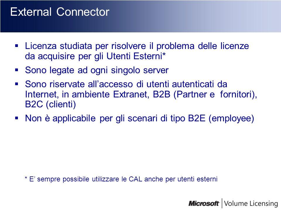 External Connector Licenza studiata per risolvere il problema delle licenze da acquisire per gli Utenti Esterni* Sono legate ad ogni singolo server So