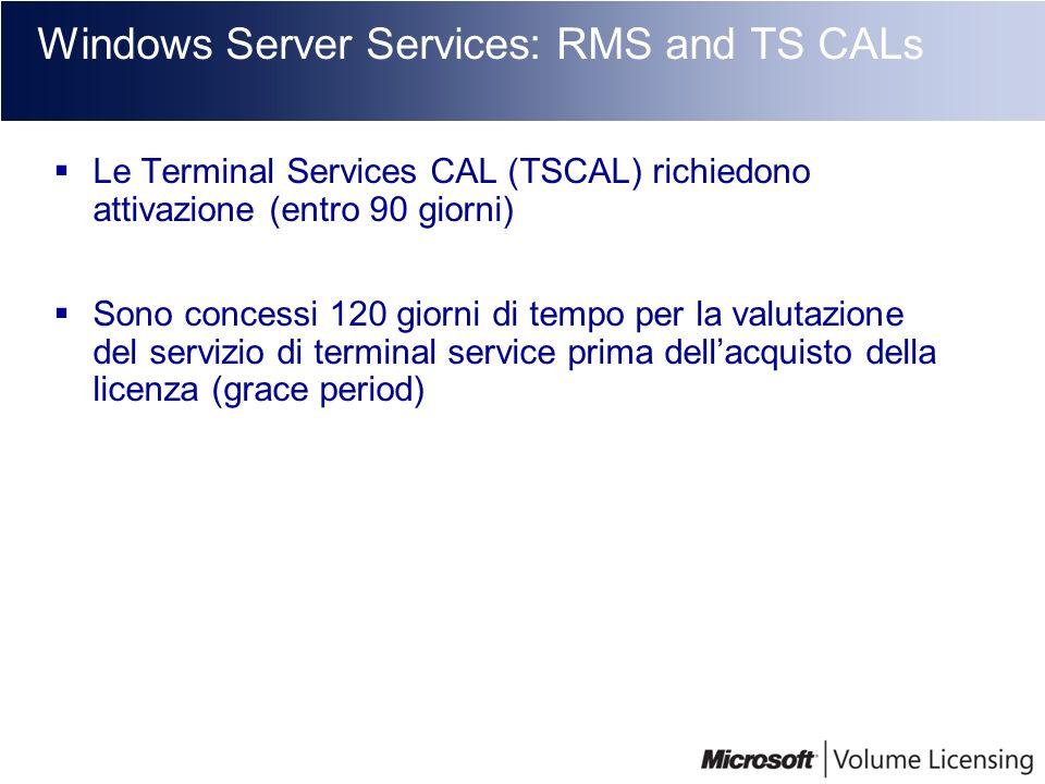Windows Server Services: RMS and TS CALs Le Terminal Services CAL (TSCAL) richiedono attivazione (entro 90 giorni) Sono concessi 120 giorni di tempo p