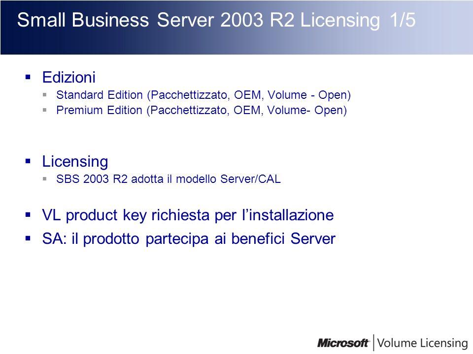 Small Business Server 2003 R2 Licensing 1/5 Edizioni Standard Edition (Pacchettizzato, OEM, Volume - Open) Premium Edition (Pacchettizzato, OEM, Volum
