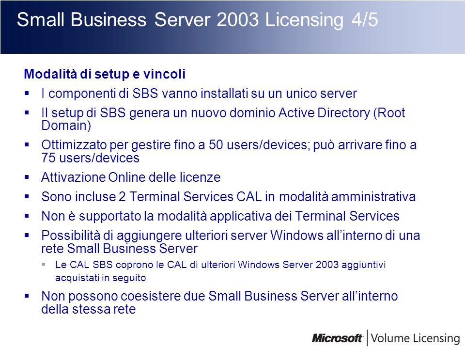 Small Business Server 2003 Licensing 4/5 Modalità di setup e vincoli I componenti di SBS vanno installati su un unico server Il setup di SBS genera un
