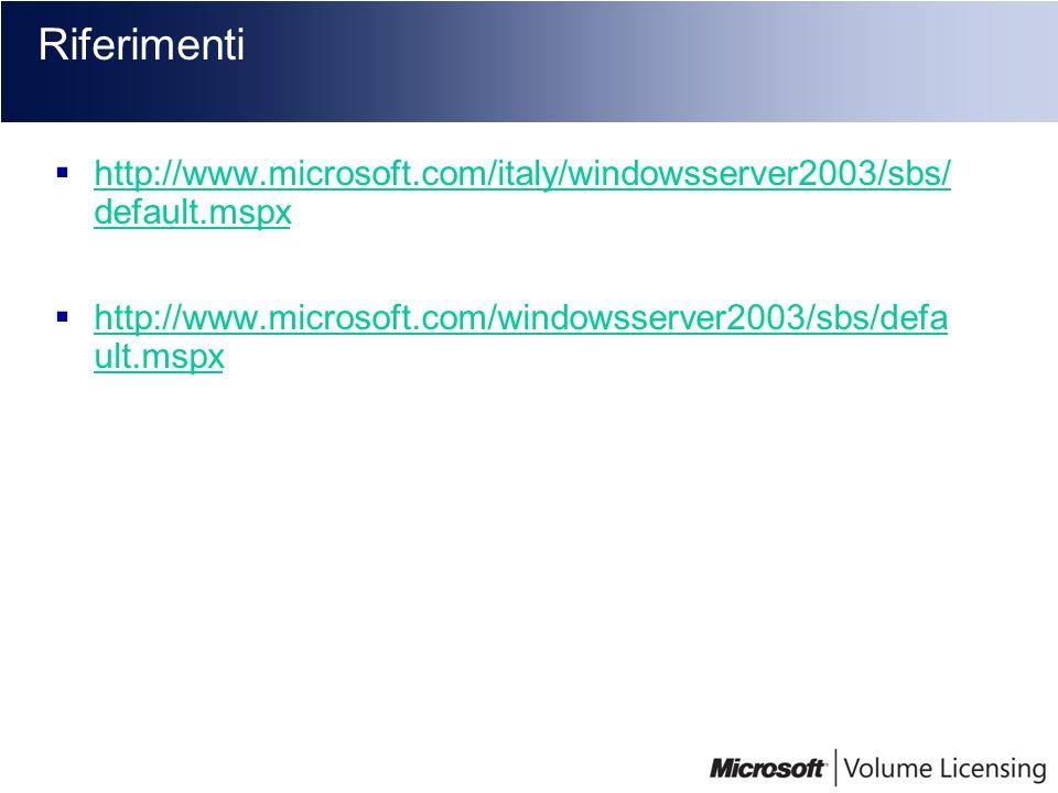 Riferimenti http://www.microsoft.com/italy/windowsserver2003/sbs/ default.mspx http://www.microsoft.com/italy/windowsserver2003/sbs/ default.mspx http