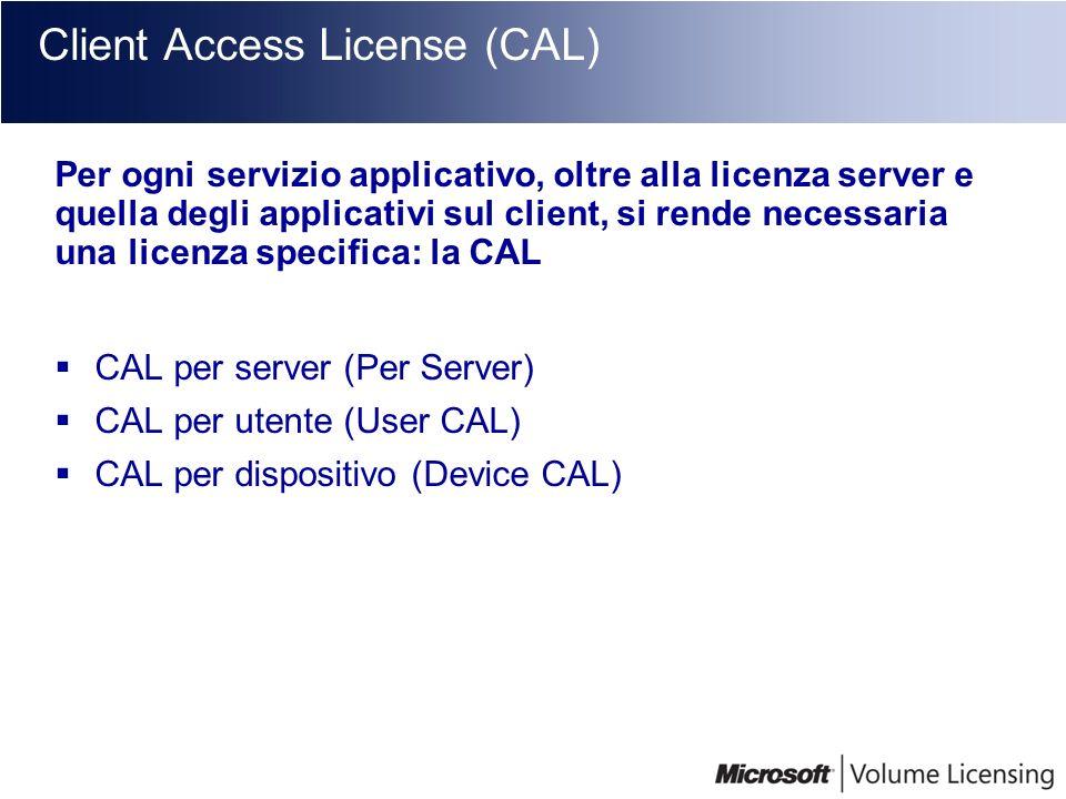 Client Access License (CAL) Per ogni servizio applicativo, oltre alla licenza server e quella degli applicativi sul client, si rende necessaria una li