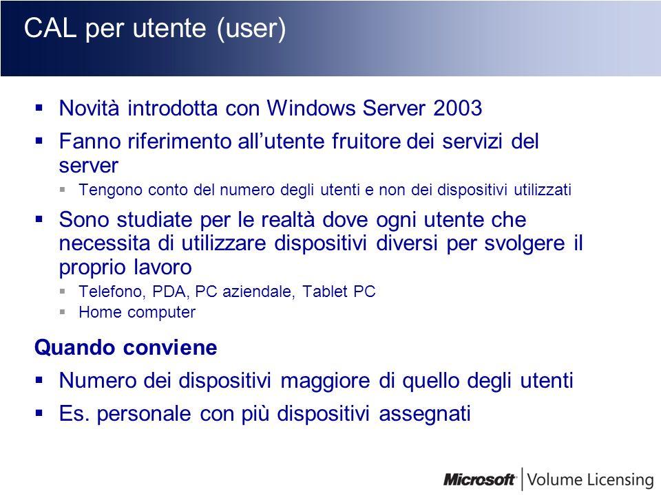 CAL per utente (user) Novità introdotta con Windows Server 2003 Fanno riferimento allutente fruitore dei servizi del server Tengono conto del numero d