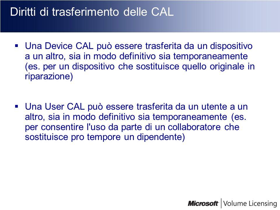 Diritti di trasferimento delle CAL Una Device CAL può essere trasferita da un dispositivo a un altro, sia in modo definitivo sia temporaneamente (es.