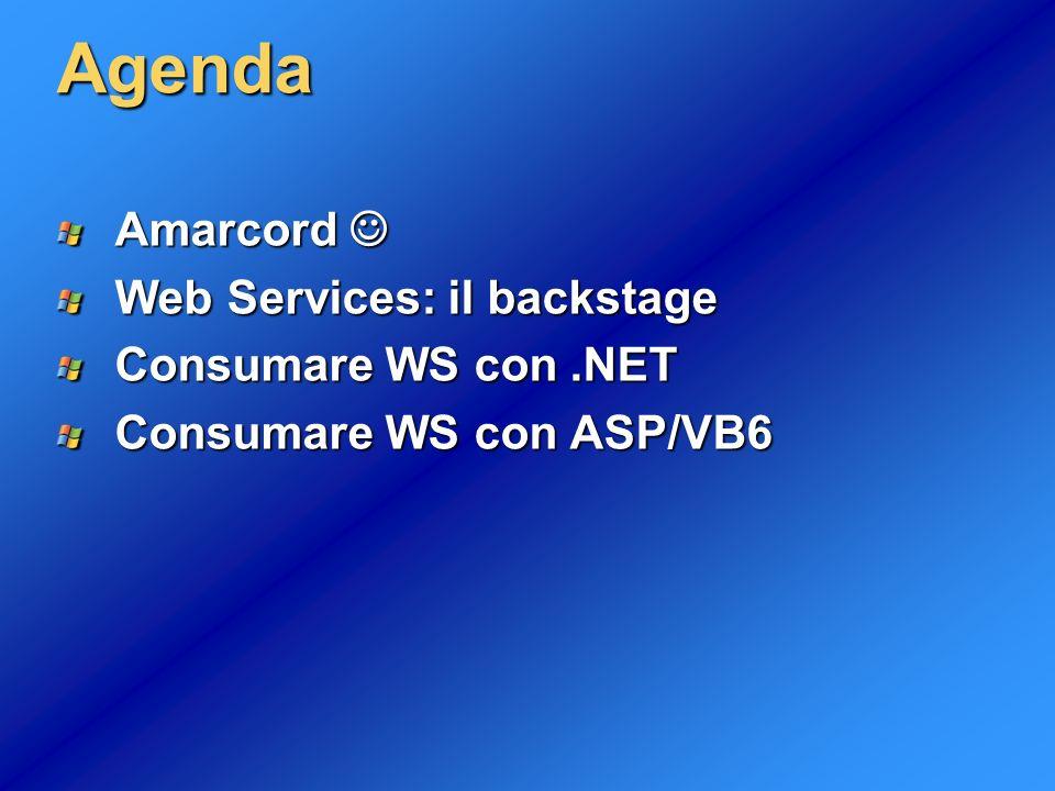 3 Funzionalità dei Web Services Programmable logic accessible by standard Web protocols Permettono alle applicazioni di inviare e ricevere informazioni tramite Internet Indipendenti da linguaggi, protocolli e piattaforme Architettura stateless Basati su standard W3C in evoluzione