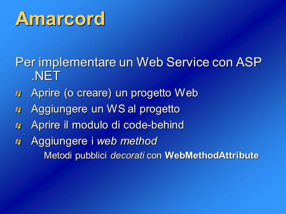 5 Amarcord Possiamo consumer un WS mediante una classe proxy: Aggiungere una Web Reference al progetto Istanziare la classe proxy Invocare i metodi della classe proxy Fantastico, ma… Come #@?*.