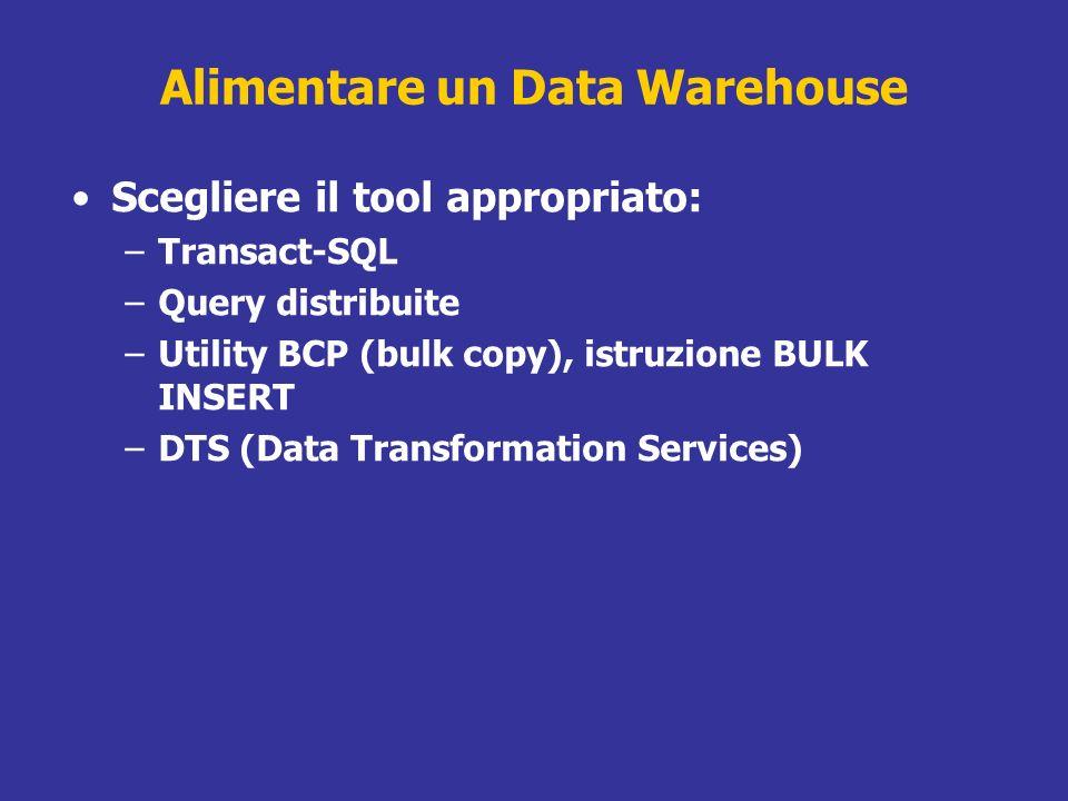 Alimentare un Data Warehouse Scegliere il tool appropriato: –Transact-SQL –Query distribuite –Utility BCP (bulk copy), istruzione BULK INSERT –DTS (Da