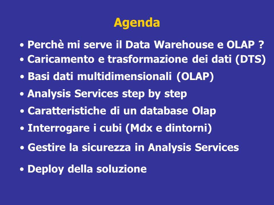 Analysis Server Analysis Server gestisce una base dati multidimensionale per ottimizzare laccesso ai dati attraverso client OLAP Un database è un insieme di cubi Cubi di uno stesso database possono condividere una o più dimensioni I cubi vengono alimentati con fonti relazionali accessibili via OLE DB