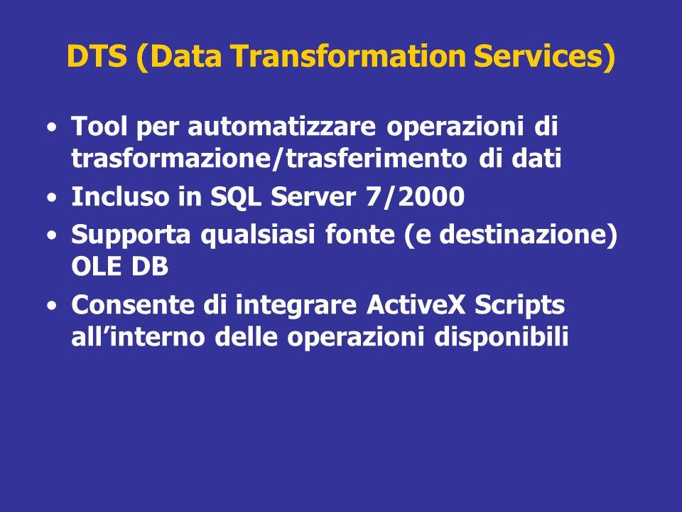 DTS (Data Transformation Services) Tool per automatizzare operazioni di trasformazione/trasferimento di dati Incluso in SQL Server 7/2000 Supporta qua