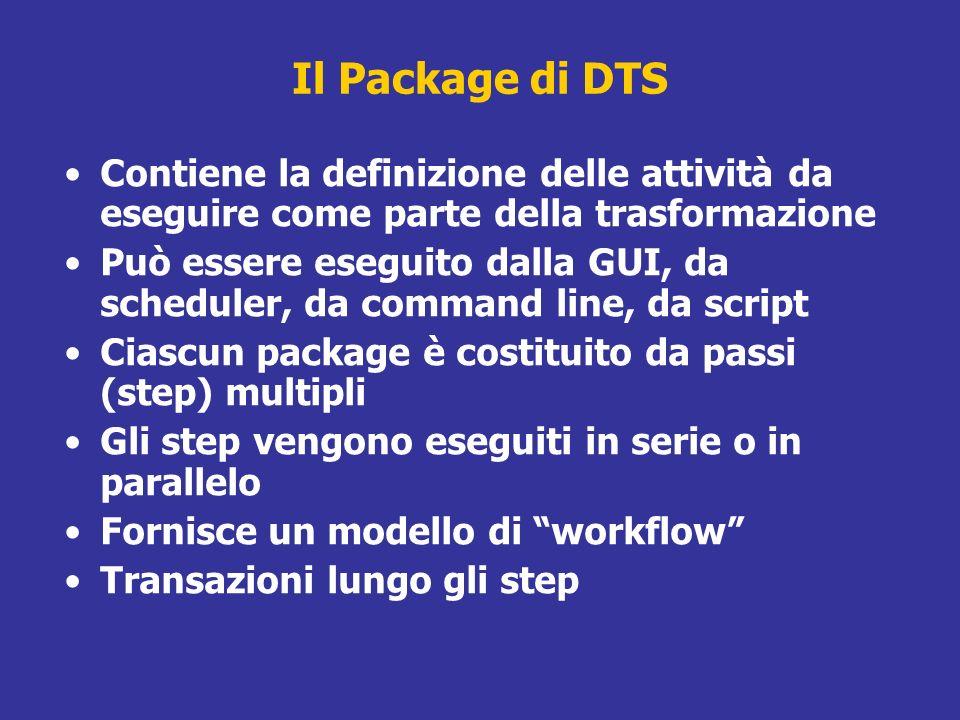 Il Package di DTS Contiene la definizione delle attività da eseguire come parte della trasformazione Può essere eseguito dalla GUI, da scheduler, da c
