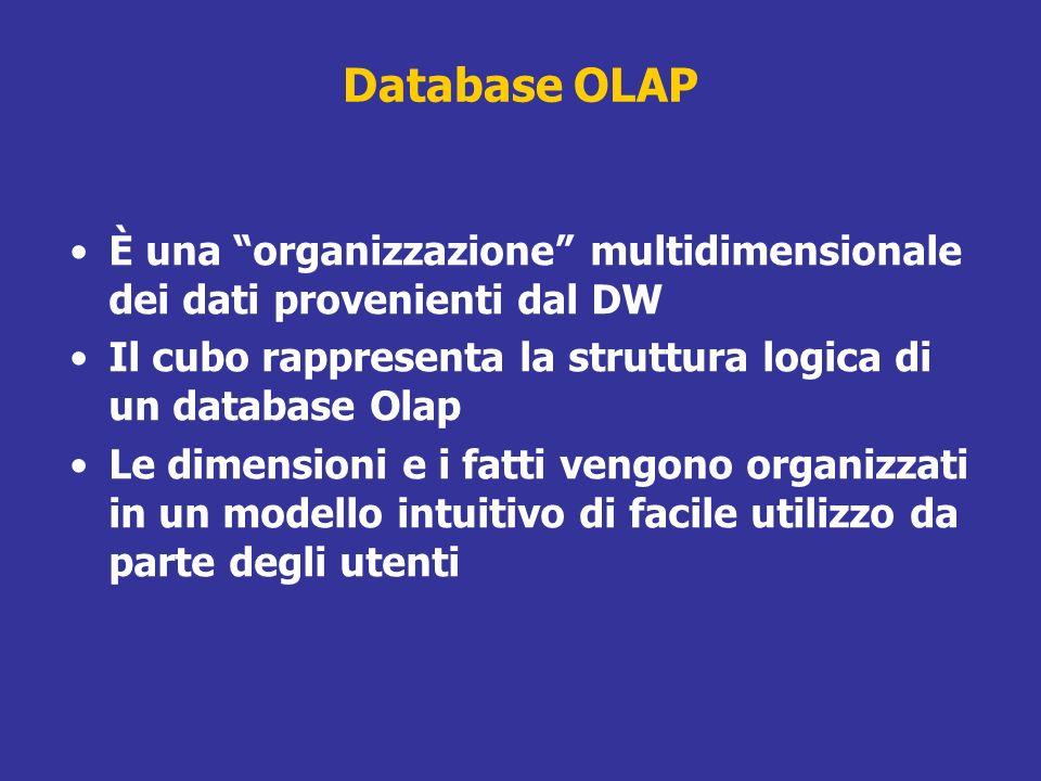 Database OLAP È una organizzazione multidimensionale dei dati provenienti dal DW Il cubo rappresenta la struttura logica di un database Olap Le dimens