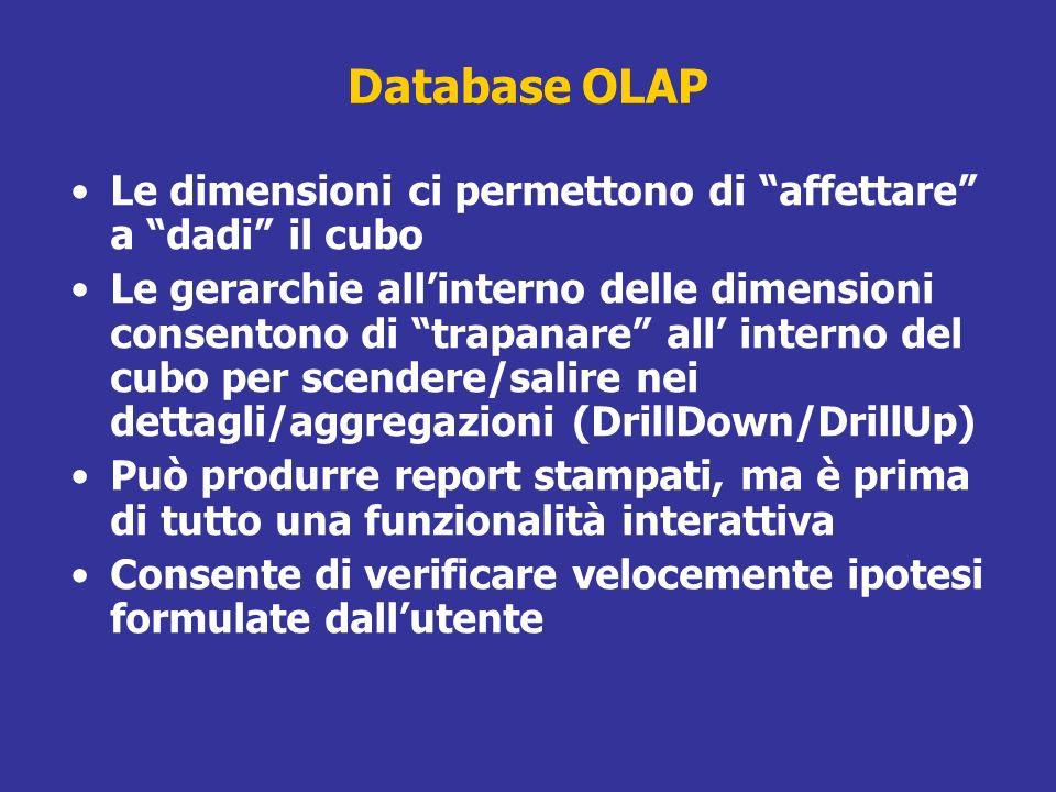 Database OLAP Le dimensioni ci permettono di affettare a dadi il cubo Le gerarchie allinterno delle dimensioni consentono di trapanare all interno del