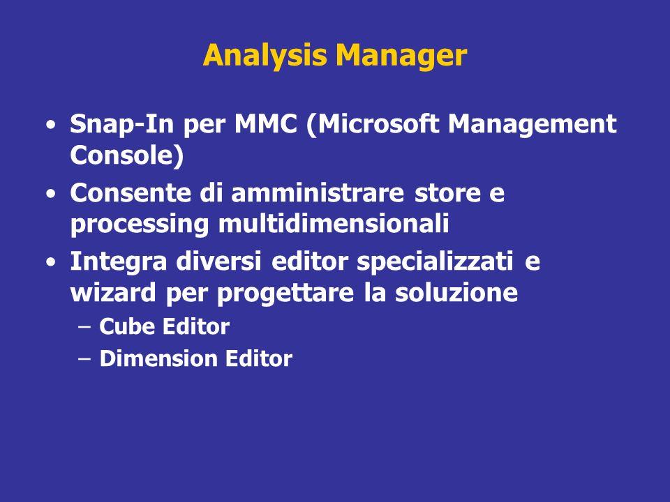Analysis Manager Snap-In per MMC (Microsoft Management Console) Consente di amministrare store e processing multidimensionali Integra diversi editor s