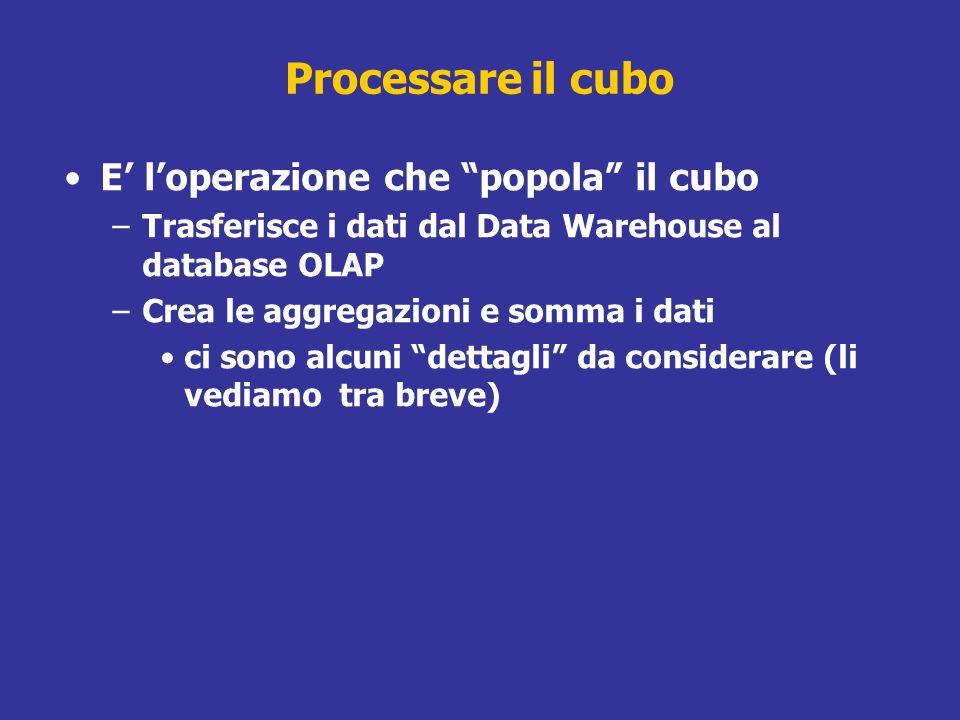 E loperazione che popola il cubo –Trasferisce i dati dal Data Warehouse al database OLAP –Crea le aggregazioni e somma i dati ci sono alcuni dettagli