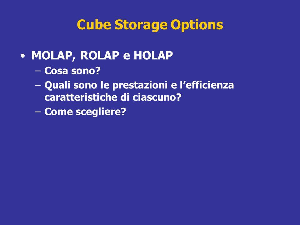 Cube Storage Options MOLAP, ROLAP e HOLAP –Cosa sono? –Quali sono le prestazioni e lefficienza caratteristiche di ciascuno? –Come scegliere?