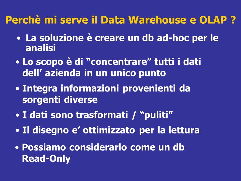Perchè mi serve il Data Warehouse e OLAP ? La soluzione è creare un db ad-hoc per le analisi Possiamo considerarlo come un db Read-Only Il disegno e o