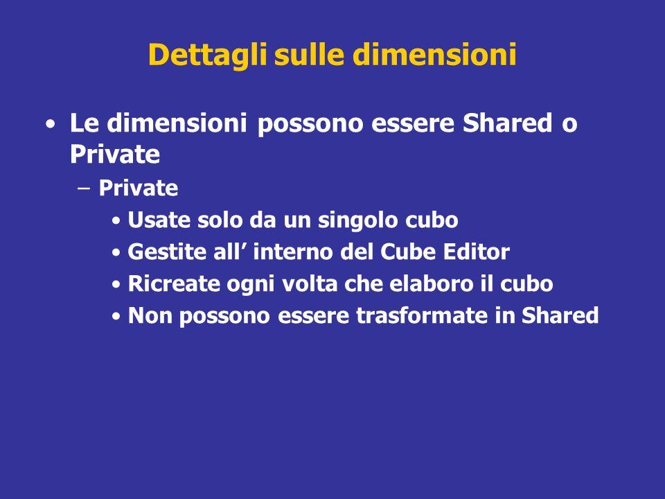 Dettagli sulle dimensioni Le dimensioni possono essere Shared o Private –Private Usate solo da un singolo cubo Gestite all interno del Cube Editor Ric