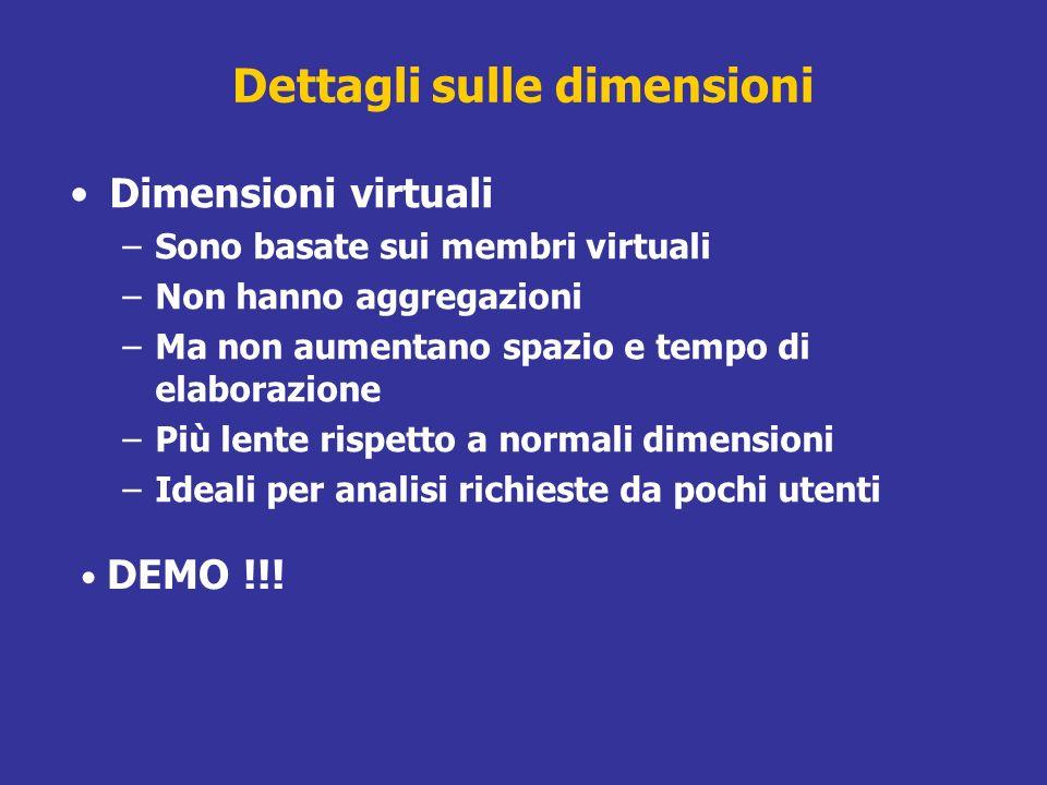 Dettagli sulle dimensioni Dimensioni virtuali –Sono basate sui membri virtuali –Non hanno aggregazioni –Ma non aumentano spazio e tempo di elaborazion