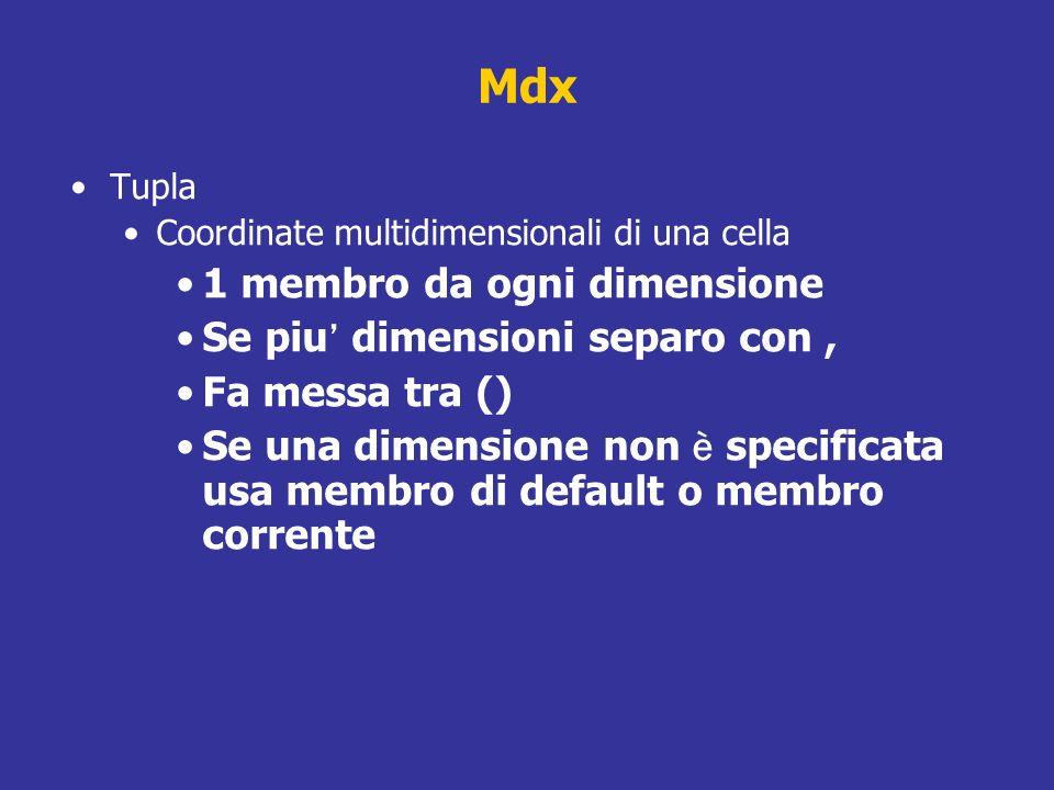 Mdx Tupla Coordinate multidimensionali di una cella 1 membro da ogni dimensione Se piu dimensioni separo con, Fa messa tra () Se una dimensione non è