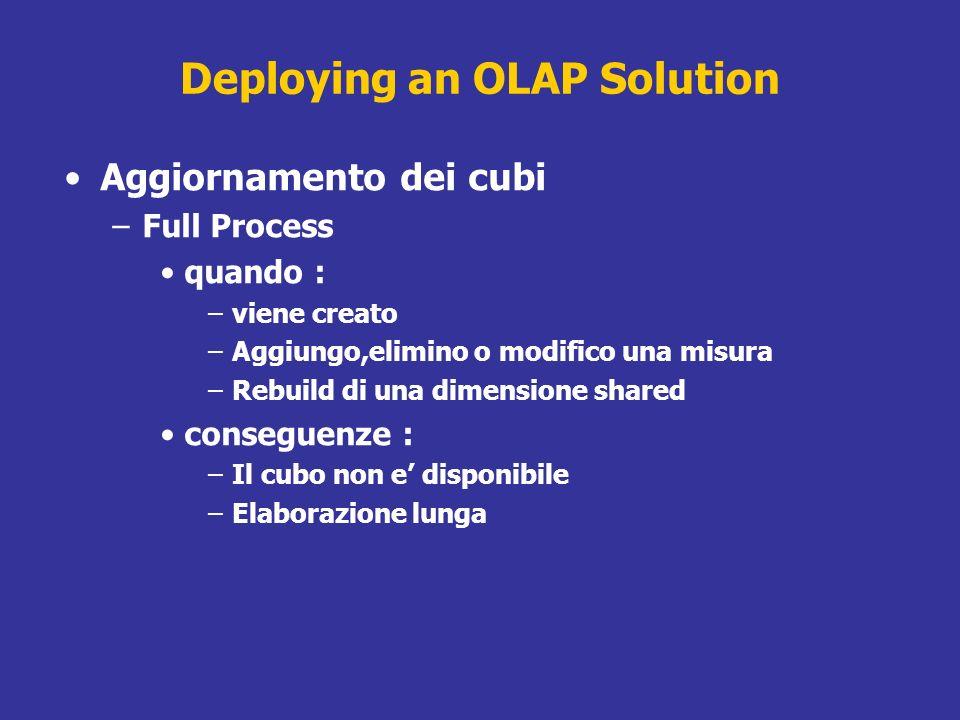 Deploying an OLAP Solution Aggiornamento dei cubi –Full Process quando : –viene creato –Aggiungo,elimino o modifico una misura –Rebuild di una dimensi