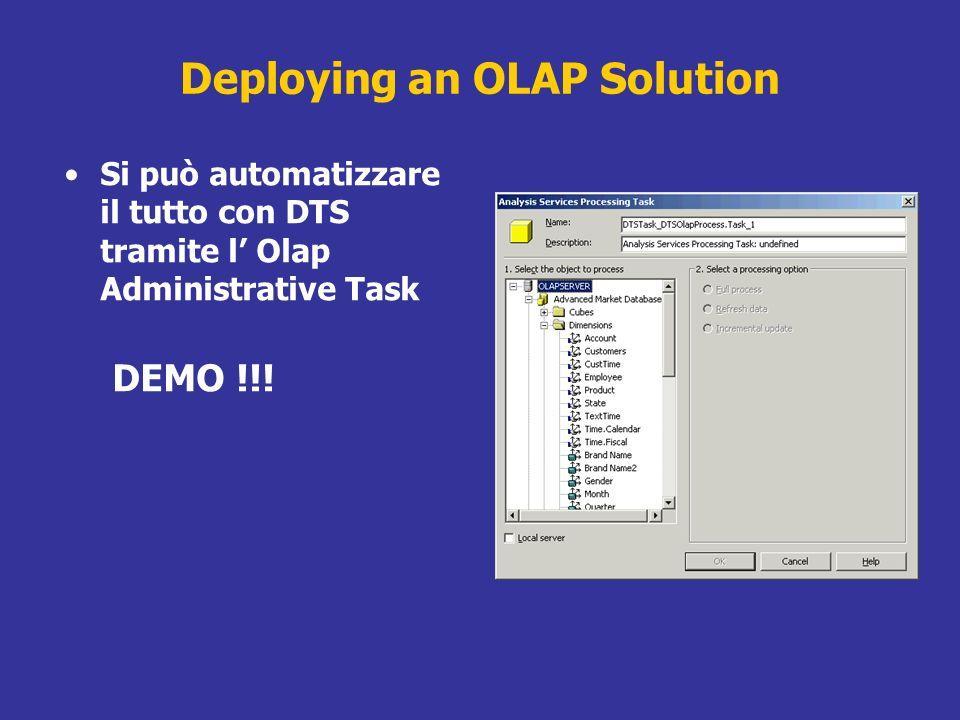 Deploying an OLAP Solution Si può automatizzare il tutto con DTS tramite l Olap Administrative Task DEMO !!!