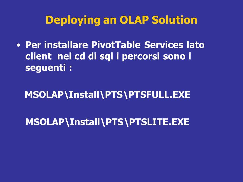 Deploying an OLAP Solution Per installare PivotTable Services lato client nel cd di sql i percorsi sono i seguenti : MSOLAP\Install\PTS\PTSFULL.EXE MS