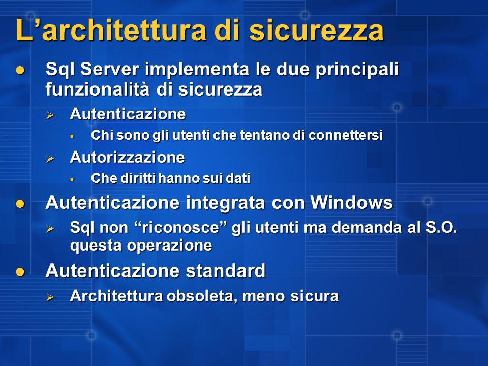 Larchitettura di sicurezza Sql Server implementa le due principali funzionalità di sicurezza Sql Server implementa le due principali funzionalità di s